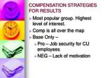 compensation strategies for results