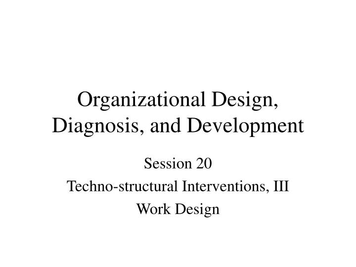 organizational design diagnosis and development n.