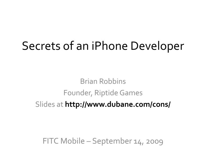 secrets of an iphone developer n.