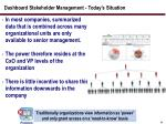 dashboard stakeholder management today s situation