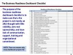 the business readiness dashboard checklist