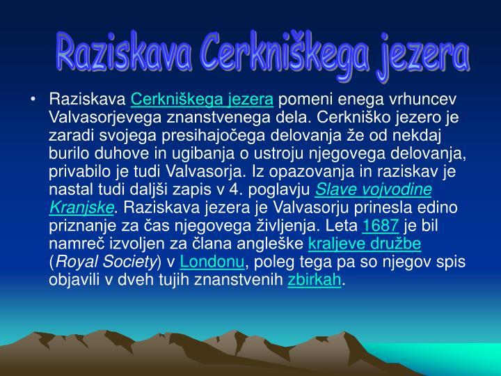 Raziskava Cerkniškega jezera