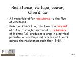 resistance voltage power ohm s law
