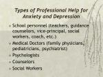 types of professional help for anxiety and depression