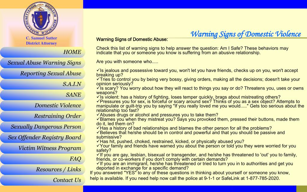 Warning Signs of Domestic Violence