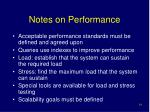 notes on performance