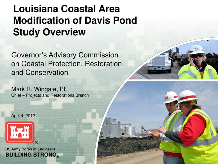 louisiana coastal area modification of davis pond study overview n.