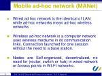 mobile ad hoc network manet