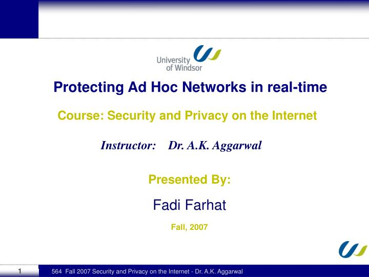 protecting ad hoc networks in real time n.