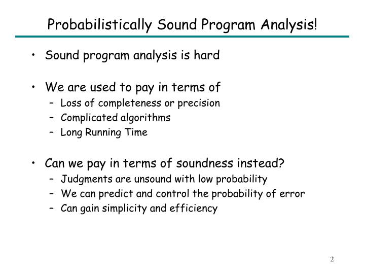 Probabilistically sound program analysis