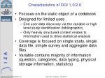 characteristics of ddi 1 0 2 0