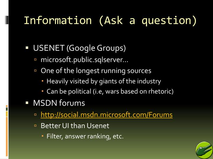 Information (Ask a question)