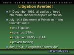 litigation averted