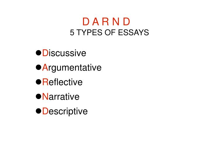 d a r n d 5 types of essays n.