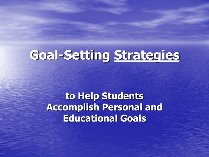 goal setting strategies n.