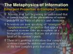 the metaphysics of information emergent properties in complex systems