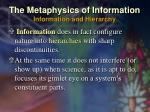 the metaphysics of information information and hierarchy