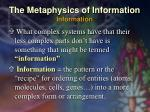the metaphysics of information information