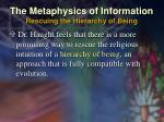 the metaphysics of information rescuing the hierarchy of being