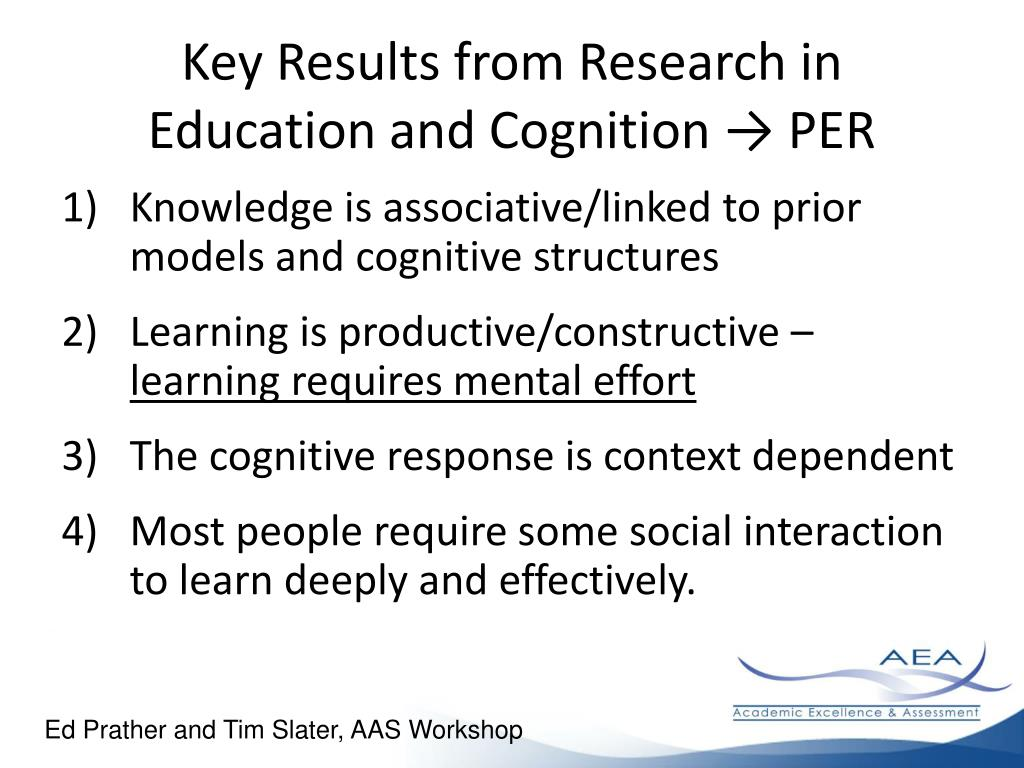 Key Results from Research in Education and Cognition → PER
