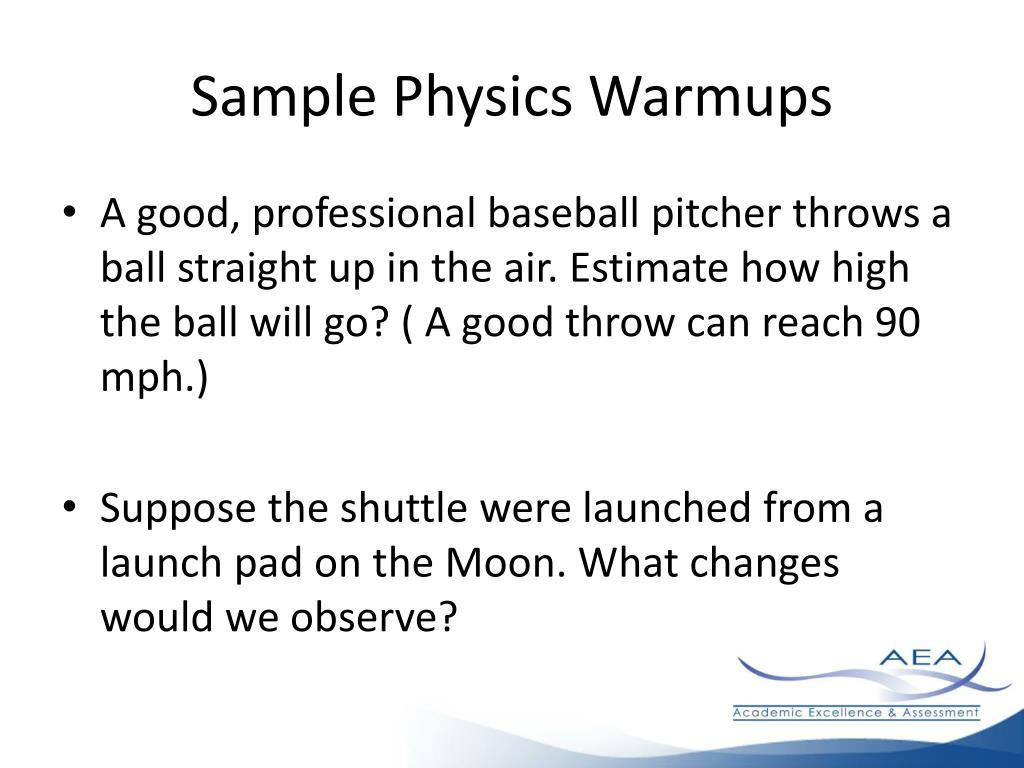 Sample Physics Warmups