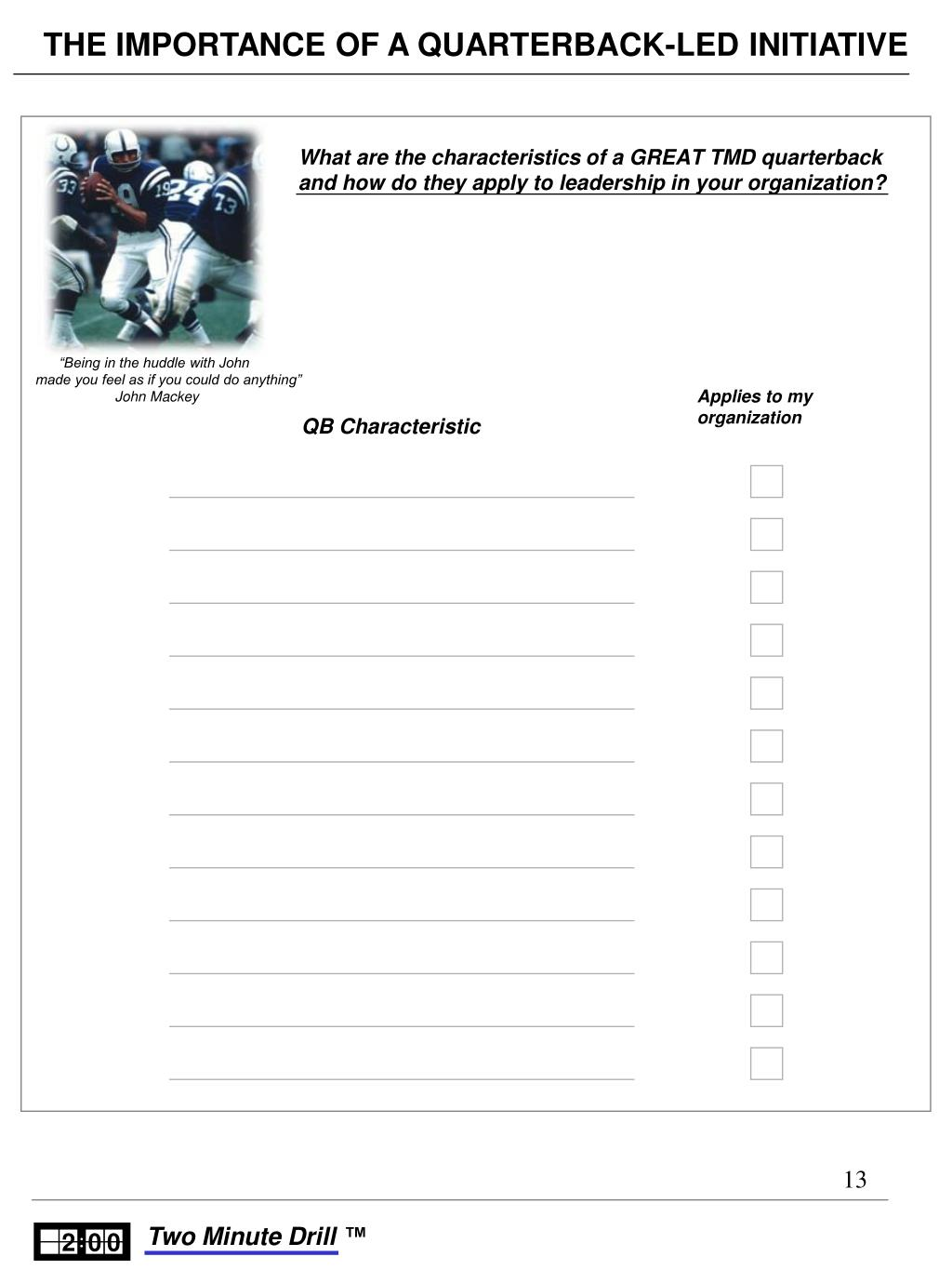 What are the characteristics of a GREAT TMD quarterback