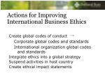 actions for improving international business ethics