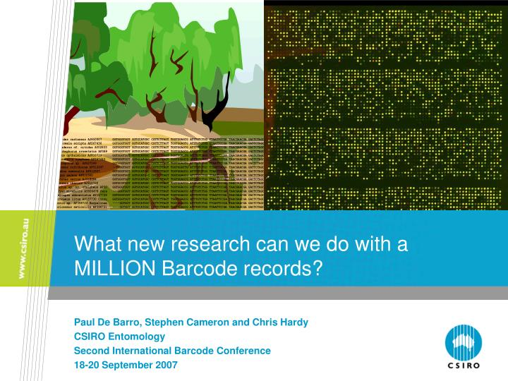 what new research can we do with a million barcode records n.