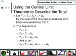 using the central limit theorem to describe the total
