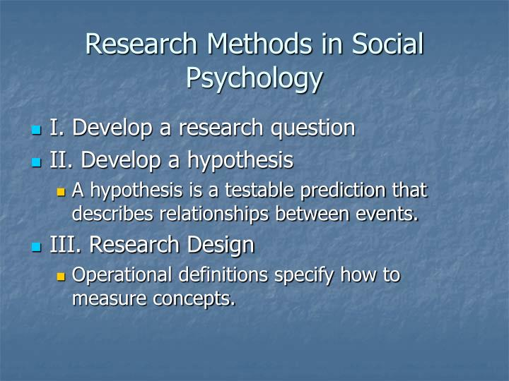 research methods in social psychology n.