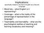 implications specifically related to the field of english as a second language