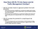 how does ais dl fit into space and air traffic management conops