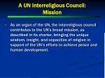 a un interreligious council mission