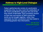 address to high level dialogue1