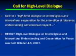 call for high level dialogue