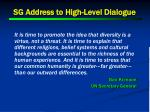 sg address to high level dialogue