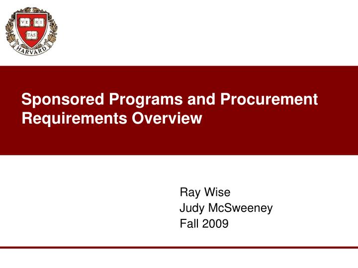 sponsored programs and procurement requirements overview n.