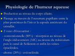 physiologie de l humeur aqueuse