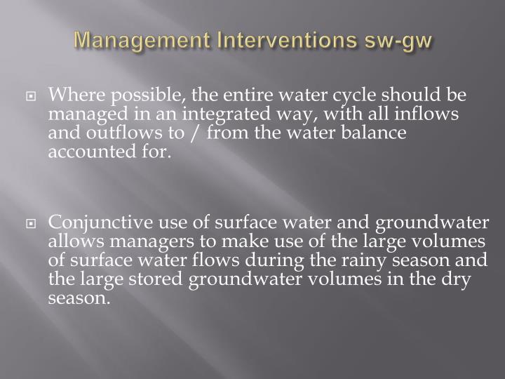 Management Interventions sw-gw