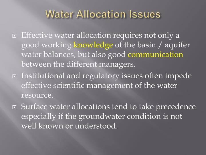 Water Allocation Issues