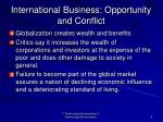 international business opportunity and conflict