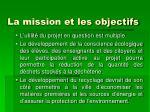 la mission et les objectifs