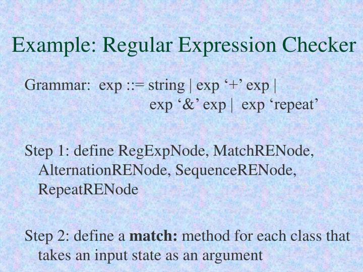 Example: Regular Expression Checker