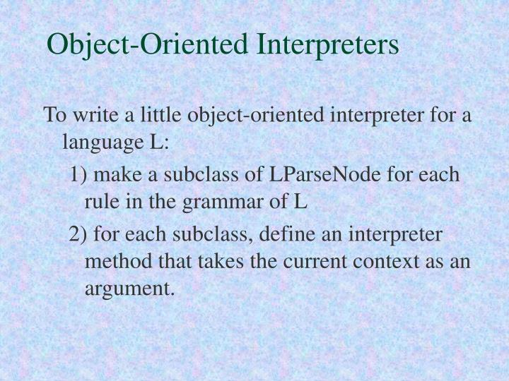 Object-Oriented Interpreters