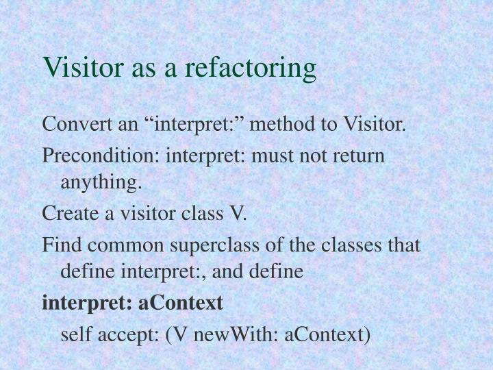 Visitor as a refactoring