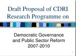 draft proposal of cdri research programme on