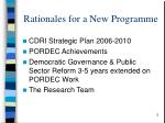 rationales for a new programme