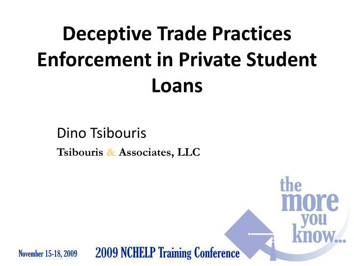 deceptive trade practices enforcement in private student loans n.