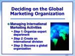 deciding on the global marketing organization