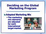 deciding on the global marketing program1